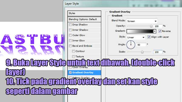 tutorial reflected text