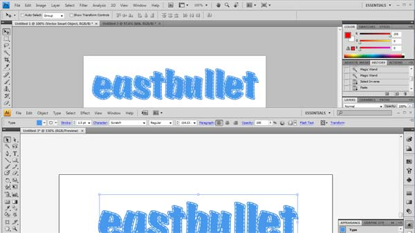 tutorial stitched text tulisan jahitan