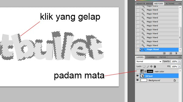 tutorial warnakan 3d text