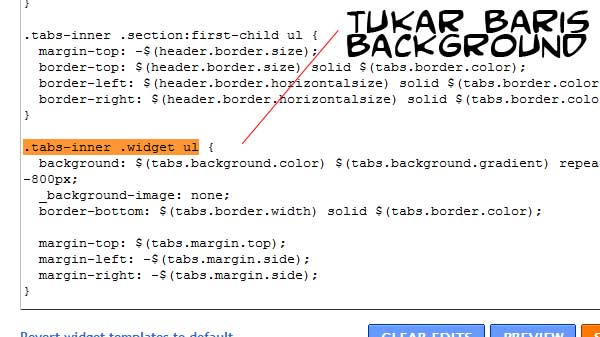 tukar background menu blog